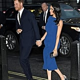 Meghan wore crystalized Aquazzura slingbacks with a cobalt Jason Wu dress at the 100 Days to Peace concert in September 2018.