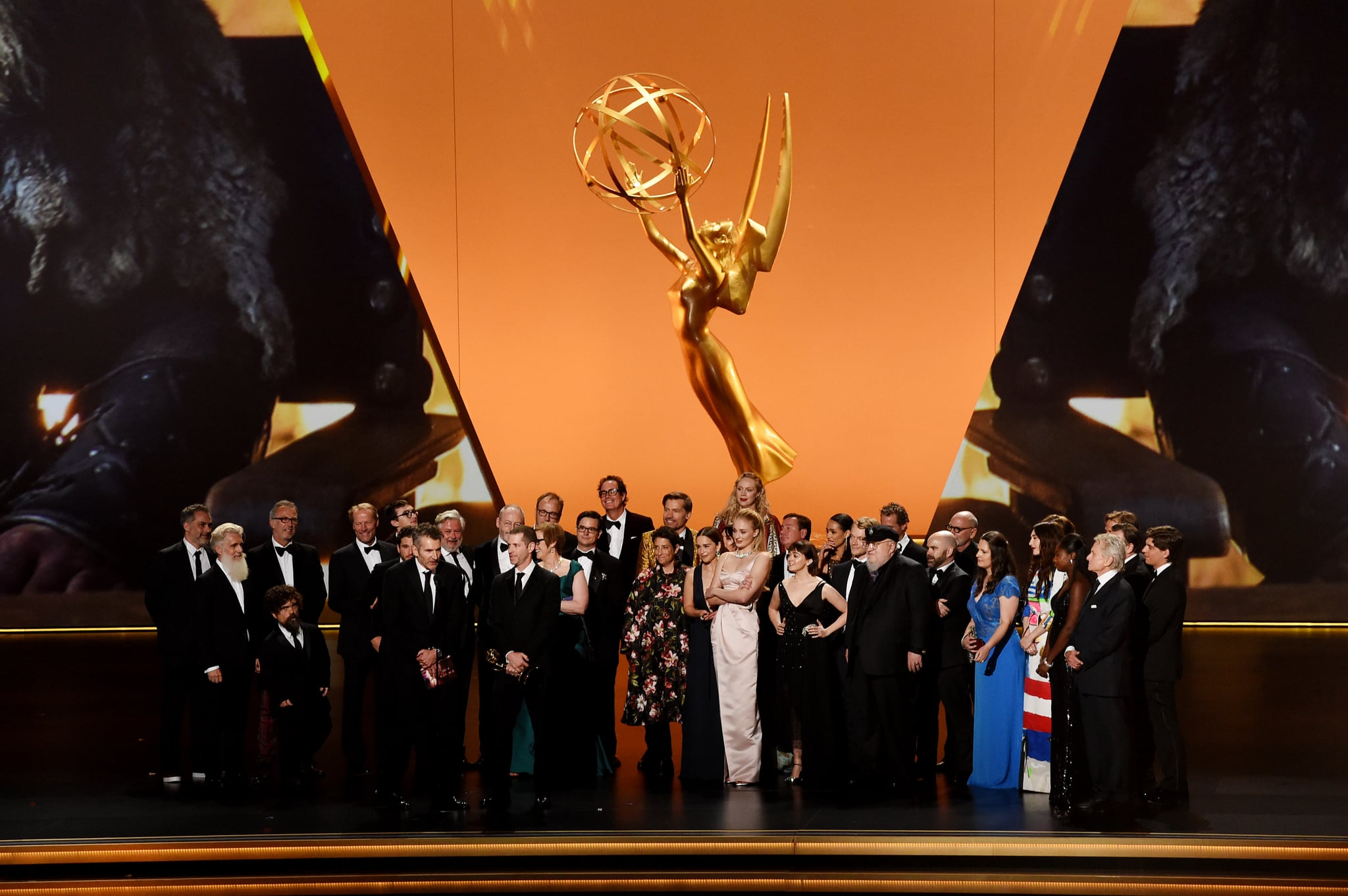 LOS ANGELES, CALIFORNIA - SEPTEMBER 22: Cast and crew of 'Game of Thrones' accept the Outstanding Drama Series award onstage during the 71st Emmy Awards at Microsoft Theatre on September 22, 2019 in Los Angeles, California. (Photo by Kevin Winter/Getty Images)