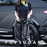 Kim Kardashian Wearing Black Leather Trousers in Calabasas