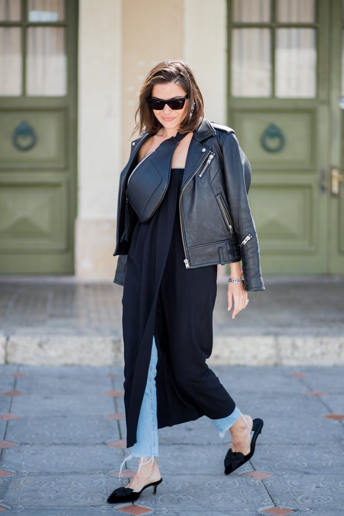 Work a kitten heel style with jeans and a breezy dress on top. Add edge with a fanny pack and leather jacket so you're tough up top and dainty on the bottom.