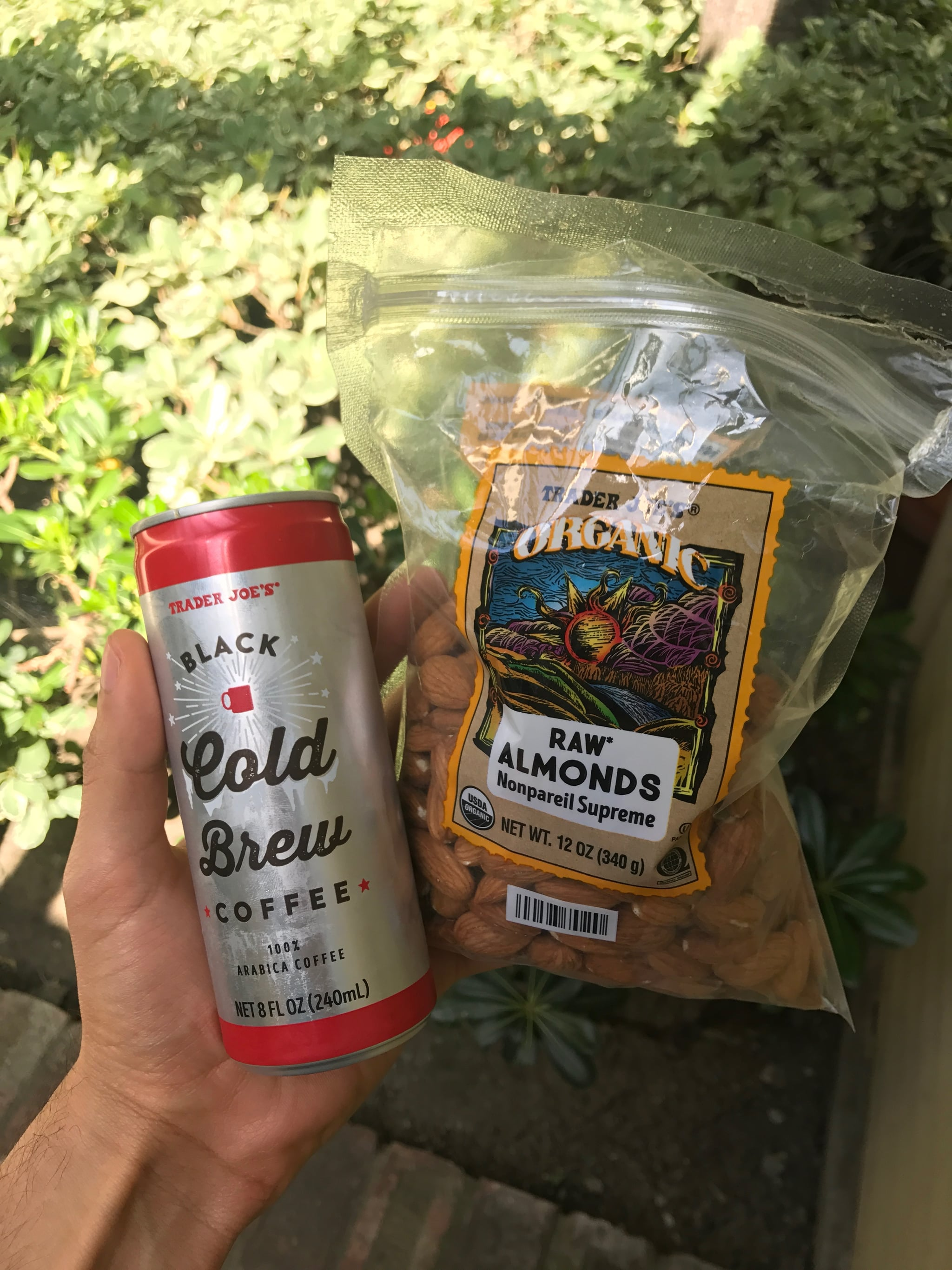Trader Joe's Black Cold Brew and Raw Almonds