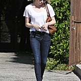 Emma Stone left a hair salon in LA.