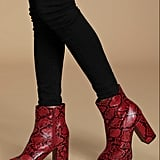 Layne Red and Black Snake Platform Ankle Booties
