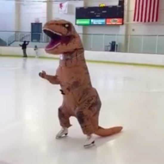Funny Video of Figure Skater in Dinosaur Costume