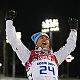 Gold medalist Ole Einar Bjoerndalen of Norway celebrated his win after the men's biathlon sprint.
