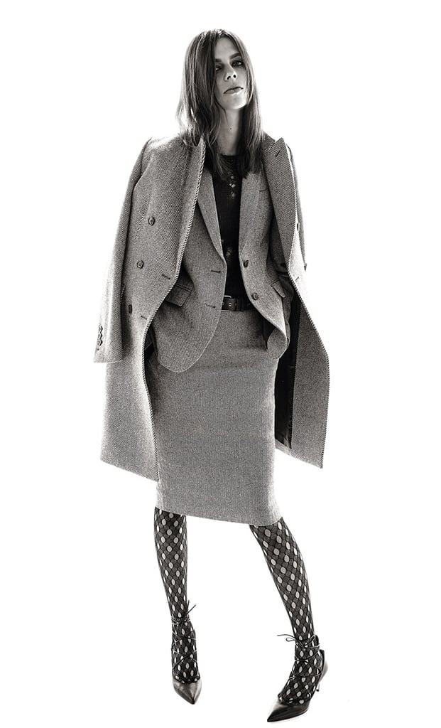 A matching three-piece wool suit: coat, blazer, and skirt