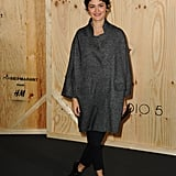 The quintessentially French Audrey Tautou went for an oversize coat with slim black pants.  Photo courtesy of H&M