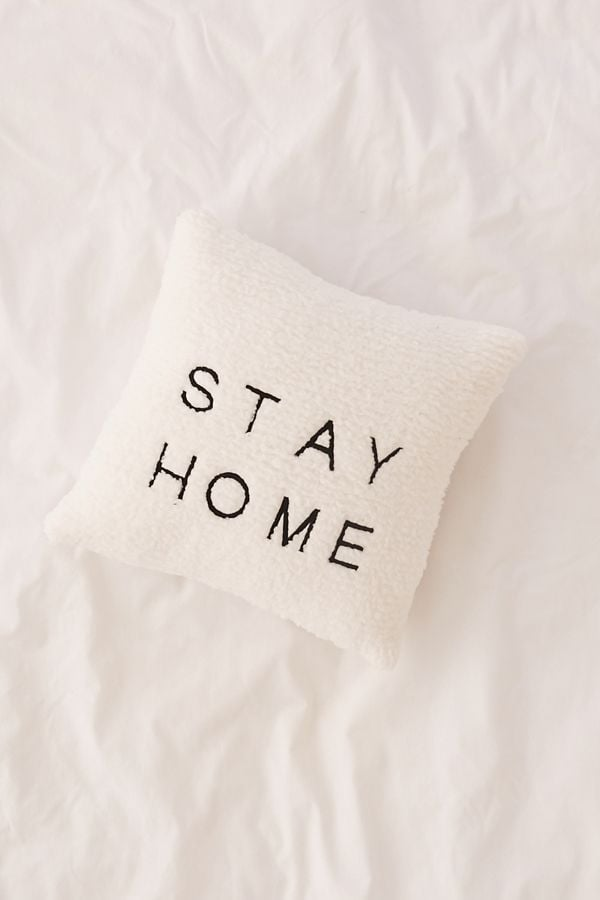 Stay Home Embroidered Amped Fleece Throw Pillow Cute