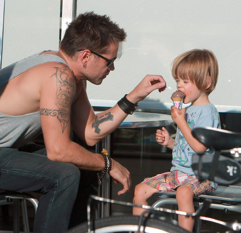 Colin Farrell spent yesterday out in LA with his 2-year-old son, Henry. The pair stopped at Baskin-Robbins, where Henry ate a chocolate ice cream cone, and swung by a newsstand to check out some children's books together. Colin, who showed off his fit form in a tank top during the day out, is back in the States after touring Europe in support of his action movie Total Recall. He and his costars Kate Beckinsale and Jessica Biel stopped in both Berlin and London after premiering the sci-fi film in LA last month. Colin's next big release will be October's Seven Psychopaths, in which he plays a struggling writer whose friends get him tangled up in a world of organized crime. He also recently signed on for the drama Winter's Tale, which will start filming this Fall in NYC and star Downton Abbey's Jessica Brown Findlay as his love interest.