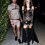 Audrina Patridge wore a see-through black dress. Her boyfriend, Corey Bohan, showed off his stems in Reno 911! shorts.