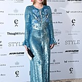 The model wore a blue sequined dress to the British Luxury Awards in 2017.