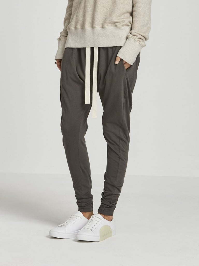Soft pants with an elastic waistband and elastic at the ankles.