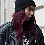 The easiest way to get the punk-rock look? With leather and a cool-girl beanie.