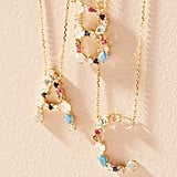 Anthropologie Stone Encrusted Monogram Necklace