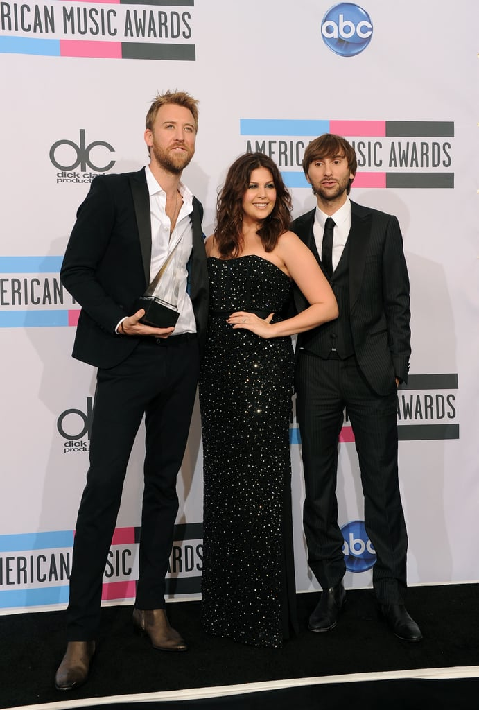 Lady Antebellum stood together in the American Music Awards press room.