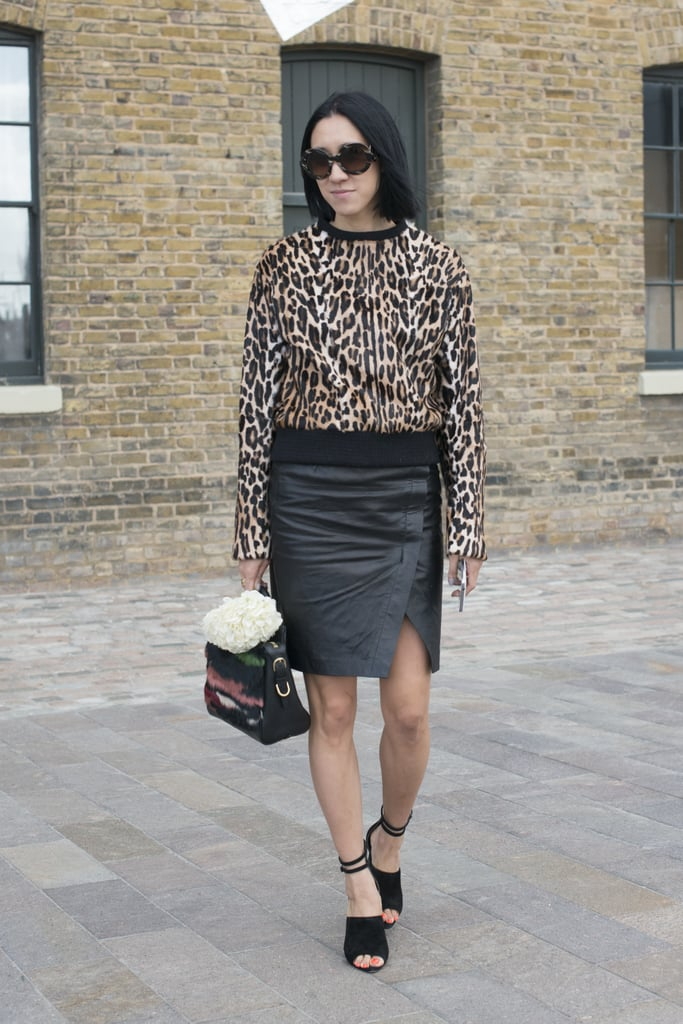 Eva Chen was spotted (get it?) making her way around the London Fashion Week shows.