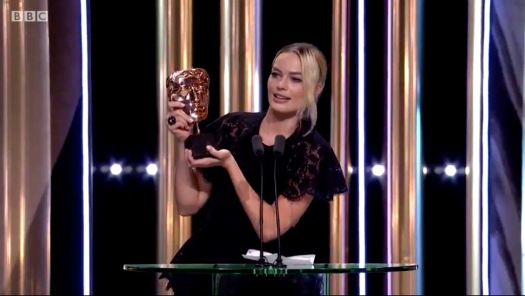 Margot Robbie Delivering Brad Pitt's 2020 BAFTAs Acceptance Speech