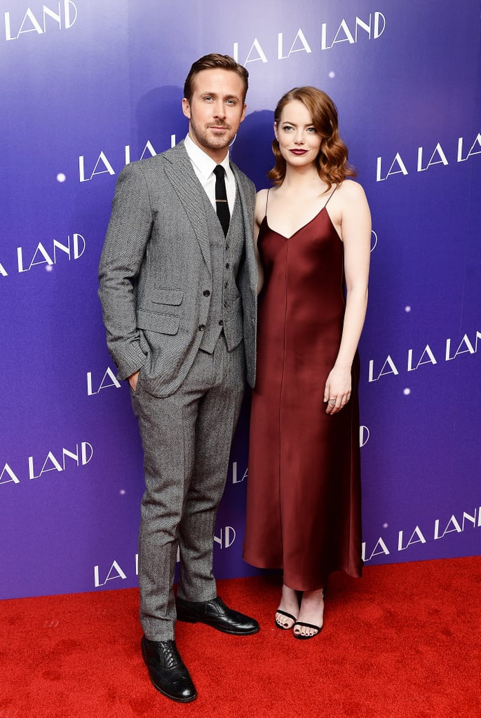 La La Land has finally come to the UK! After months of waiting, the Golden Globe-winning, BAFTA-nominated musical is now in UK cinemas, and the stars hosted a gala screening in London on Thursday to celebrate. Ryan Gosling and Emma Stone hit the red carpet alongside the film's director, Damien Chazelle, and Lionsgate's Zygi Kamasa, and as always, they looked incredible. Emma was glamorous in a burgundy slip dress, while Ryan had us swooning in his three-piece suit. Clearly riding high on their success at Sunday night's Golden Globes, where they both picked up awards for their performances in the film, they were all smiles as they introduced us to the City of Stars. See all the photos now!