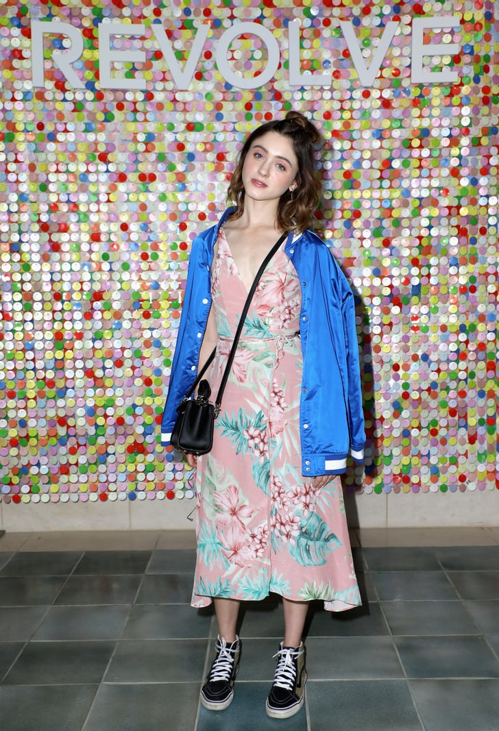 Natalia Dyer Wearing A Floral Privacy Please Dress And