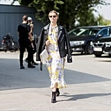 Style a Floral Dress With a Leather Jacket