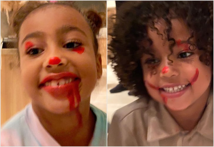 North West Gave Her Siblings Pennywise Makeovers, and Kim Kardashian's Couch Was Not Unscathed