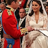 Prince William and Kate exchanged vows at their wedding on April 29, 2011.