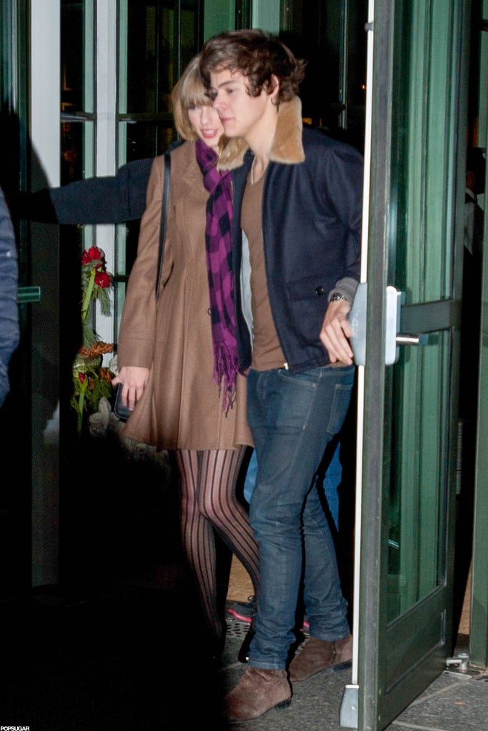Taylor Swift and Harry Styles were together leaving a party in NYC last night. She returned to the Big Apple, and her new love interest, after work took her to Tennessee Wednesday. Taylor attended and emceed the 2012 Grammy nominations concert, where in addition to beat-boxing with LL Cool J, she also celebrated her three nods. Now, though, Taylor's attention is back on her One Direction boyfriend. Yesterday, Taylor and Harry showed PDA at a friend's birthday bash held at the Crosby Street Hotel. Other celebs turned out for the fun too, including Emma Stone and Dianna Agron. Their evening out came after a romantic weekend, during which Taylor and Harry had a fun, and much-photographed, adventure to the Central Park Zoo.