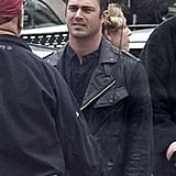 Taylor Kinney ran lines on the Chicago Fire set in Chicago on Monday.