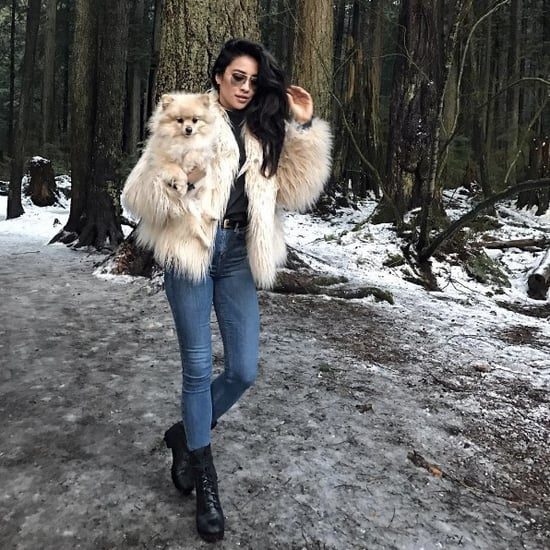 Shay Mitchell Wearing Majorelle Faux Fur Coat