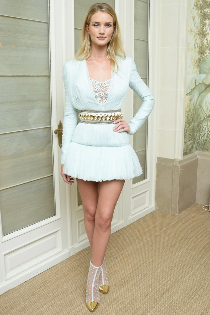 Rosie Huntington-Whiteley channeled her inner ballerina in a pale blue tulle ensemble and cap-toe sheer booties at the Balmain afterparty.