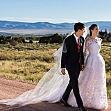 Allison Williams married Ricky Van Veen in an Oscar de la Renta gown on a ranch in Wyoming in September 2015. Tom Hanks officiated the ceremony.