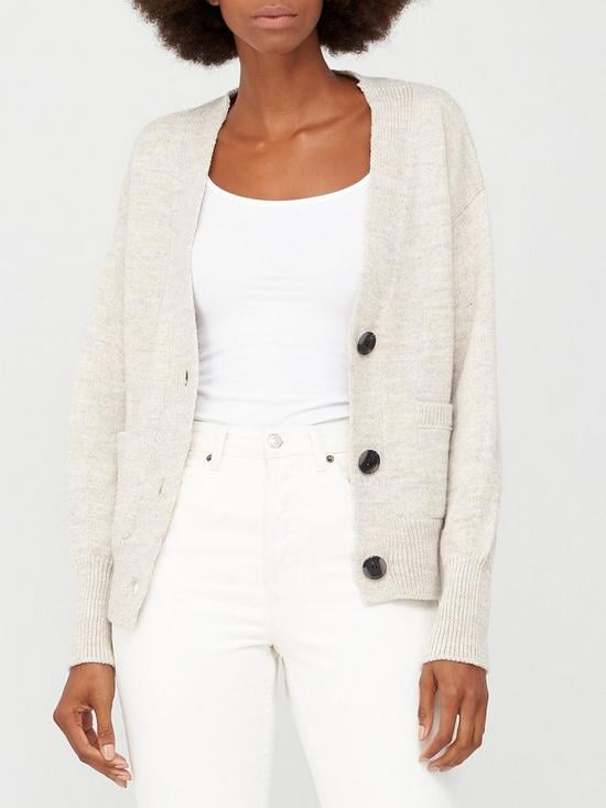 V by Very Button Up Short Cardigan with Pockets