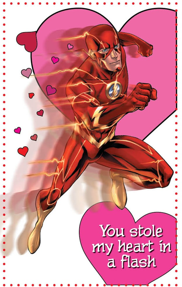 Flash makes an impressive appearance in this valentine that you can get when you buy the Young Romance book ($18) from DC Comics.