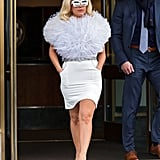 A giant snowball? No, just Lady Gaga. The singer was seen in New York.