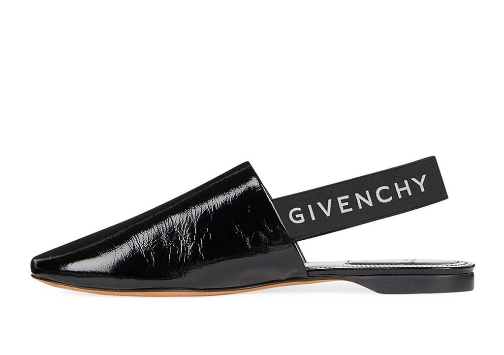 7a3c663cee3 Givenchy Rivington Crinkle Patent Logo Slingback Flat