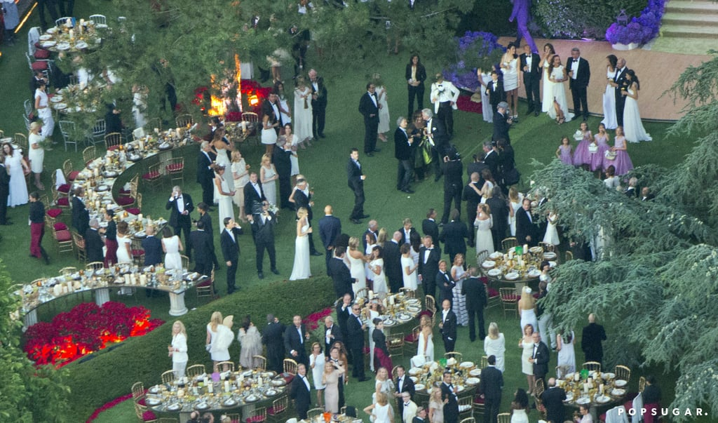 Guests gathered on a lawn for the celebrations.