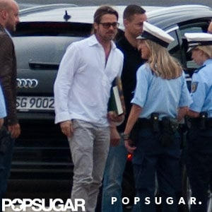 Brad Pitt wore a white shirt.