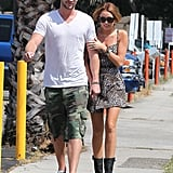 Liam Hemsworth and Miley Cyrus went for a romantic stroll in Studio City, LA, in July 2011.