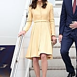 Kate Wearing Her Emilia Wickstead Coat For the Arrival in Bhutan