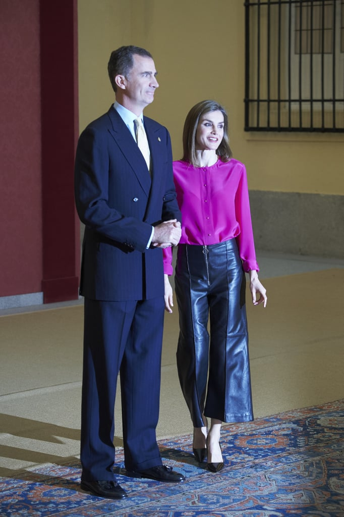 Queen Letizia Wearing Leather Culottes June 2016