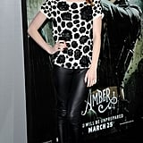Emma Roberts made leather pants look kind of sweet with an embellished top.