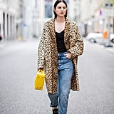 Style Your Leopard-Print Coat With: A Black Top, Loose Jeans, Loafers, and a Bright Bag