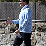 Jon Hamm wore a blue sweater.