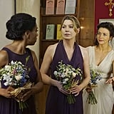 Ellen Pompeo as Meredith and Jerrika Hinton as Stephanie, the bridesmaids.