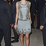 Queen Letizia wearing a sequined minidress.