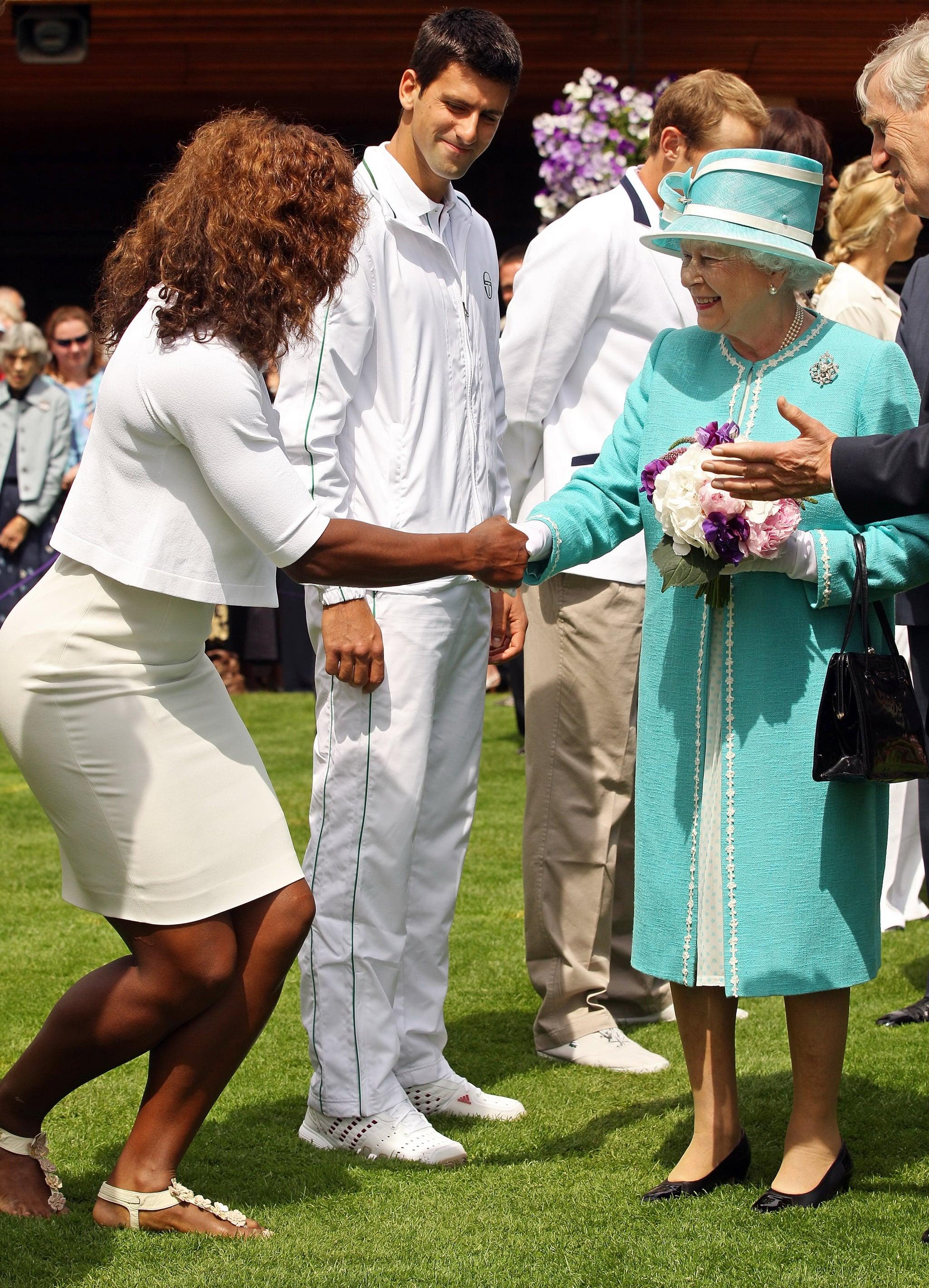 Serena Williams met Queen Elizabeth II in June 2010 at Wimbledon in London.