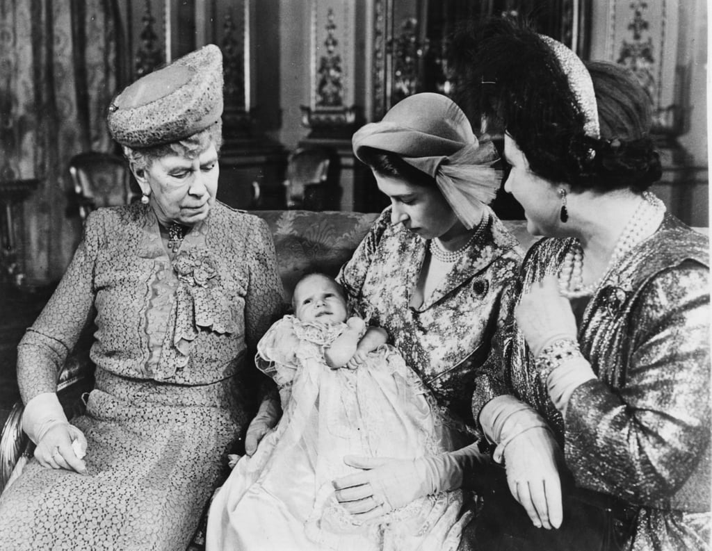 Princess Elizabeth holds Princess Anne in 1950 With Grandmothers Queen Mary and Queen Elizabeth