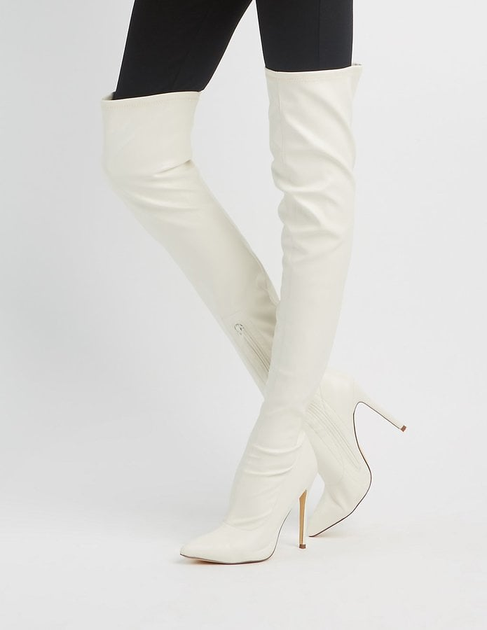 Charlotte Russe Faux Leather Pointed Toe Over-The-Knee Boots