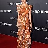Alicia stunned in this ruffled Rodarte creation at the Jason Bourne Australian premiere.