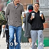 Ashton Kutcher and Mila Kunis picked up coffee in NYC.